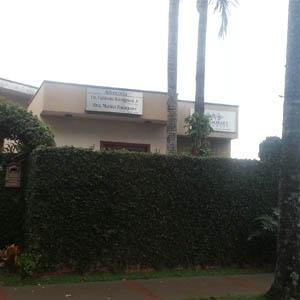 O muro coberto pela hera fecha a fachada do escritório de Cravinhos/SP.